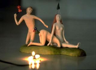 Maurizio Cattelan, Il giardino delle delizie (M.C.1), 1994 (The garden of delights) Painted plaster, light 20 x 35 x 15 cm