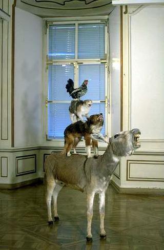 Maurizio Cattelan, Love saves life - L'amore salva la vita, 1995 Stuffed animals - Quasi per gioco , Neue Galerie am Landesmuseum Joanneum, Graz