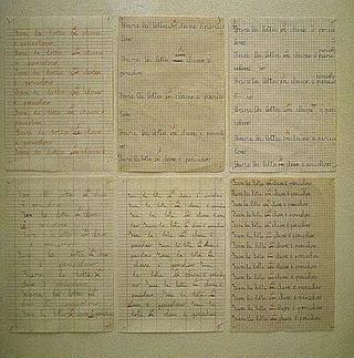 Maurizio Cattelan, Punizioni, 1991 (Punishments) Ink on paper 6 elementi da 29,7 x 21 cm