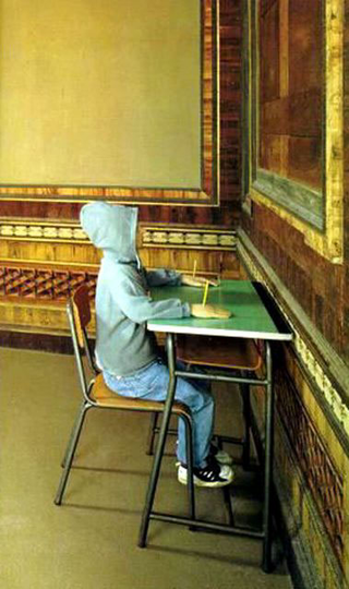 Maurizio Cattelan, Charlie non fa il surf, 1997 (Charlie does not surf) Bench and elementary school chair, pencils, dressed mannequin made of latex and fabric 112 x 71 x 70 cm Castello di Rivoli - Museo d'Arte Contemporanea, Rivoli (TO)