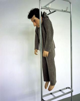 Maurizio Cattelan, La rivoluzione siamo noi, 2000 (We are the revolution) Wax, glass resin, coat hanger 190 x 50 x 50 cm Migros Museum, Zürich Foto di Attilio Maranzano Courtesy:Marian Goodman Gallery, New York