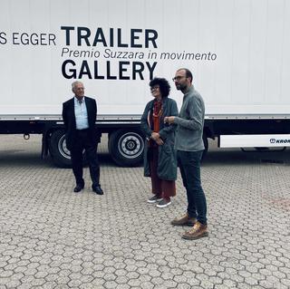 Trailer Gallery Premio Suzzara, Il presidente del Memoriale della Shoah Roberto Jarach, Patrizia Brusarosco e l'artista Hannes Egger