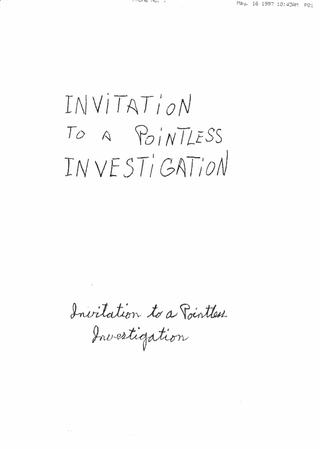 Jimmie Durham, Invitation to a Pointless Investigation, Fax di Jimmie Durham con Il progetto diworkshop a Viafarini