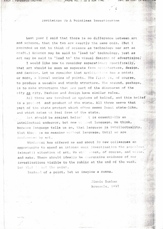 Jimmie Durham, Invitation to a Pointless Investigation, Invitation to a Pointless Investigation