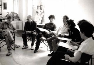 Jimmie Durham, Invitation to a Pointless Investigation, Tra i partecipanti, con Jimmie Durham primo a sinistra, Gabriele Picco e Paola Pivi rispettivamente terzo e quinta da sinistra