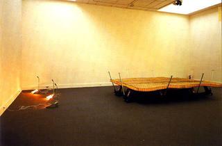 Liliana Moro, Favilla, 1991 (Spark) Foam rubber, green metal net, elevating trollies - Una scena emergente , Centro per l'Arte Contemporanea Luigi Pecci, Prato