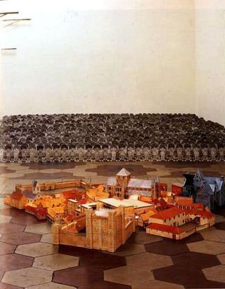 Liliana Moro, Abbassamento, 1992 (Lowering) Dolls and paper constructions Spazio di Via Lazzaro Palazzi, Milano Foto:Roberto Marossi