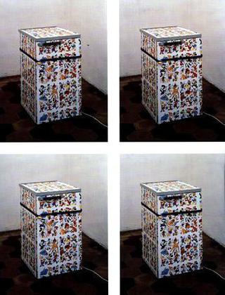 Liliana Moro, No frost, 1990 (Working refrigerator, adhesive plastic, iron, padlock) Spazio di Via Lazzaro Palazzi, Milano Foto:Roberto Marossi