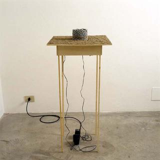 Liliana Moro, Spazio Aereo, 2003 Wooden stand, trench war model, sand, sound 100 x 50 x 50 cm Galleria Emi Fontana, Milano Courtesy:Galleria Emi Fontana, Milano