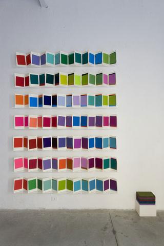 """Re-Enacted Painting, Workshop """"Che cos'è la pittura?"""" e progetto espositivo """"I Leporelli"""" di Maria Morganti., Veduta dell'installazione. Foto di Roberto Marossi"""