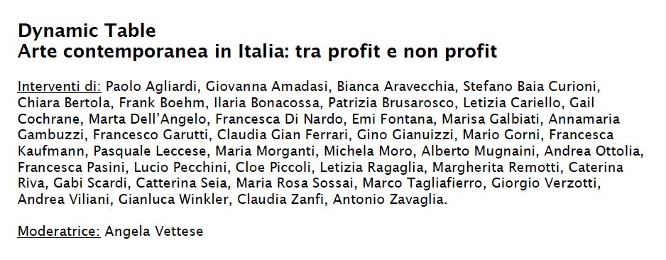 Dynamic Table - Arte contemporanea in Italia: tra profit e non profit