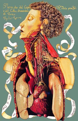 Thin Line, Valerio Carruba. I topi non avevano nipoti, olio su acciaio inox, 65,3 x 42,8 cm. 2003.
