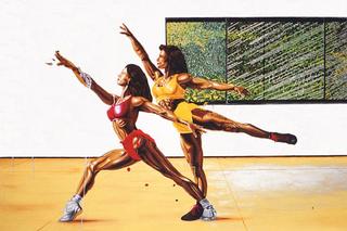 Thin Line, Valerio Carruba, Duhlo', acrilico su tela, 191 x 266 cm. 1998.