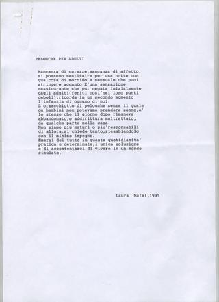 Transatlantico, Laura Matei Peluche per adulti, 1995