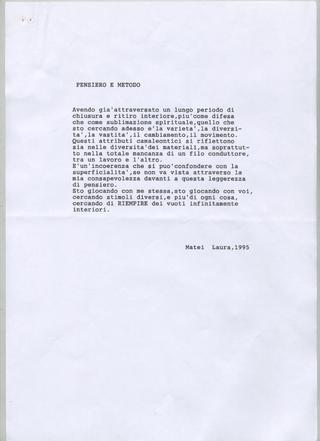 Transatlantico, Laura Matei Pensiero e metodo, 1995