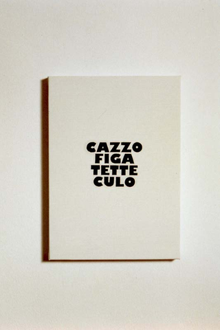Transatlantico, Paola Pivi Cazzo figa tette culo, 1995 olio su tela 24 x 20 cm