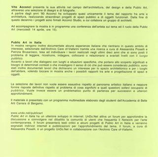 Vito Acconci. Arte, architettura e design verso lo spazio pubblico - Un confronto con la situazione della Public Art in Italia nel lavoro di 60 artisti italiani. Conferenza di Vito Acconci 14 aprile, L'invito.