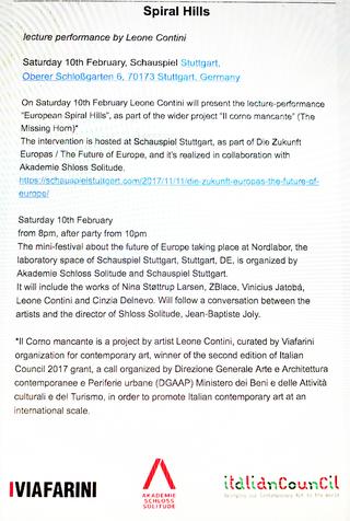 Leone Contini, Il Corno mancante, Leone Contini, Spiral Hills Lecture performance Stuttgart, Germany