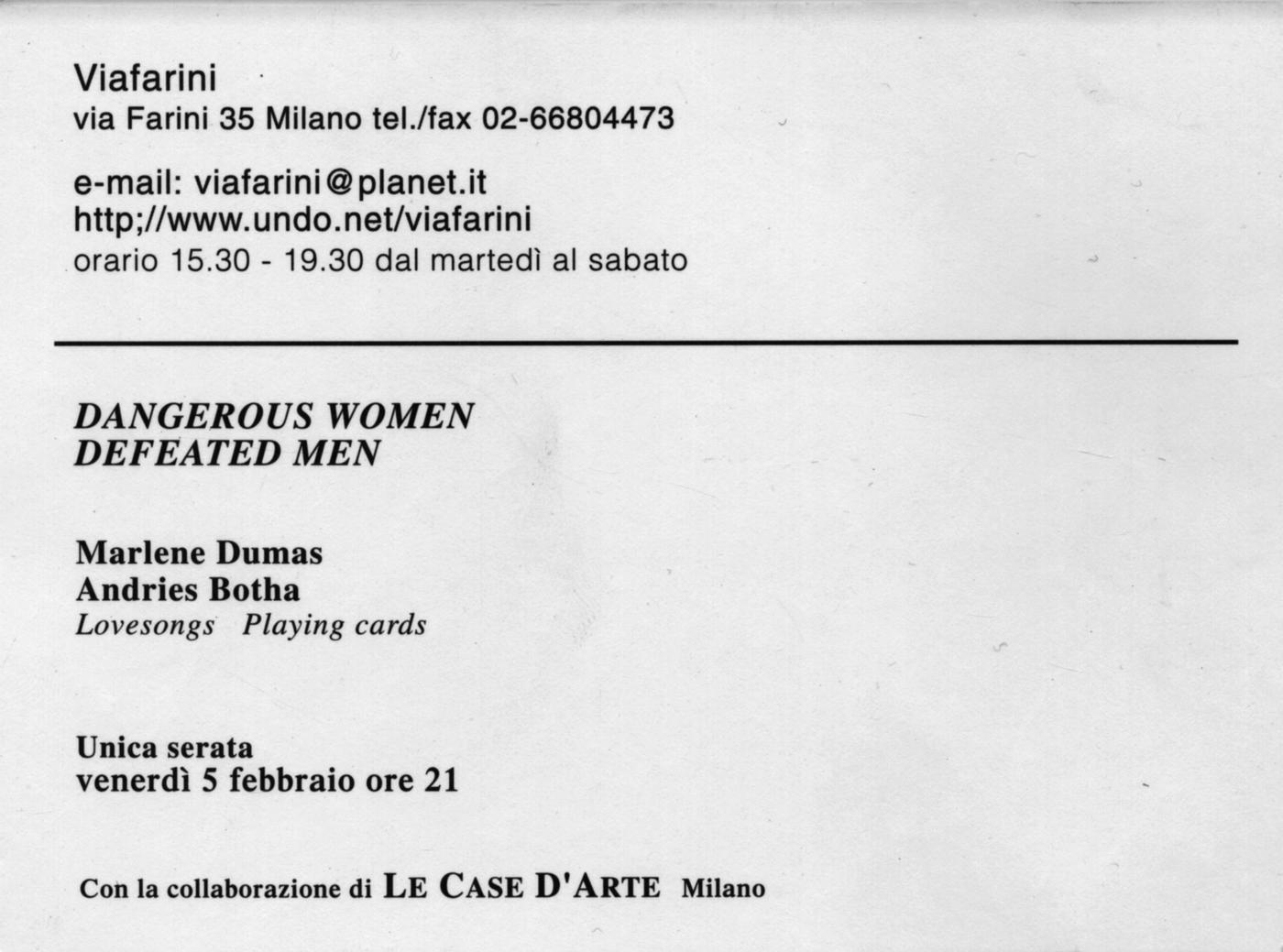 Promozione Progetti,  In foto: Marlene Dumas, Andries Botha, presentazione dell'edizioneLovesongs & Playing cards, 1999