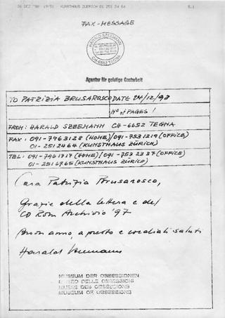 La Storia dell'Archivio - 2 - CD-ROM Archivio '97, Spedizioni CD-ROM all'estero nel 1998: fax Harald Szeemann