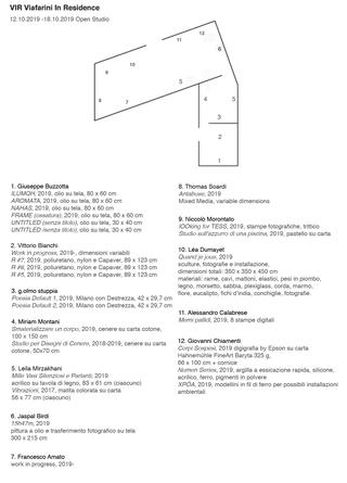Viafarini Open Studio, Foglio di sala - VIR