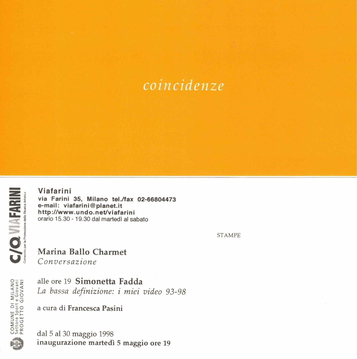 Marina Ballo Charmet, Simonetta Fadda, Coincidenze