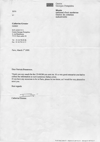 La Storia dell'Archivio - 2 - CD-ROM Archivio '97, Spedizioni CD-ROM all'estero nel 1998: lettera Centre Pompidou