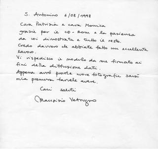 La Storia dell'Archivio - 2 - CD-ROM Archivio '97, Spedizioni CD-ROM all'estero nel 1998: lettera Maurizio Vetrugno