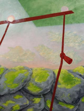 Le invenzioni del fare, tra arte e filosofia. Archivio registrazioni, Andrea Respino,Fottuto Eden V,2020; olio su tela, 200 x 150 cm; dettaglio.Courtesy: Andrea Respino