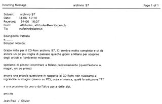 La Storia dell'Archivio - 2 - CD-ROM Archivio '97, Spedizioni CD-ROM all'estero nel 1998: mail Jean-Paul Olivier
