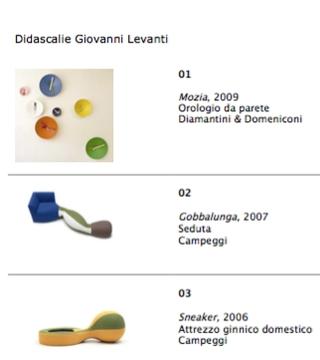 Didascalie ed elenco oggetti in mostra