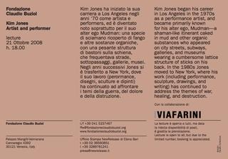 Invito alla lecture organizzata da Fondazione Claudio Buziol a Venezia in collaborazione con Viafarini (2008)