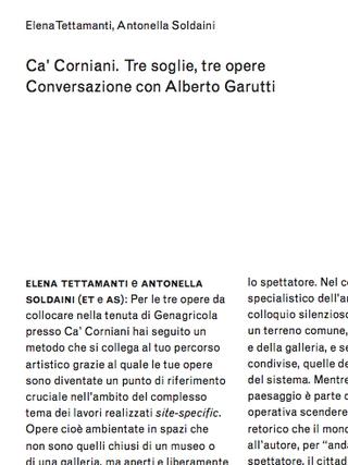 Tre soglie a Ca' Corniani -  Alberto Garutti. Elena Tettamanti, Antonella Soldaini:  Ca' Corniani. Tre soglie, tre opere. Conversazione con Alberto Garutti