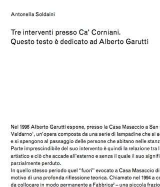 Tre soglie a Ca' Corniani -  Alberto Garutti. Antonella Soldaini: Tre interventi presso Ca' Corniani. Questo testo è dedicato ad Alberto Garutti