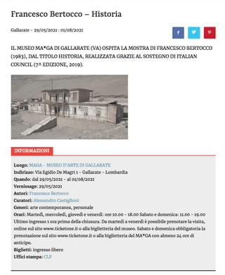 Artribune: segnalazione della mostra Historia al Museo MA*GA