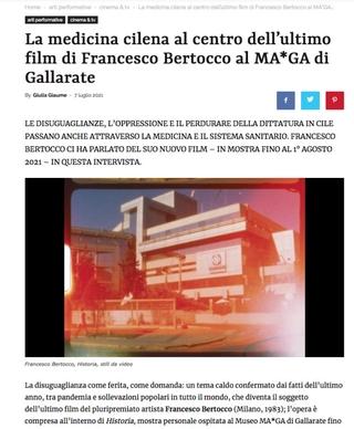 Artribune: La medicina cilena al centro dell'ultimo film di Francesco Bertocco al MA*GA di Gallarate
