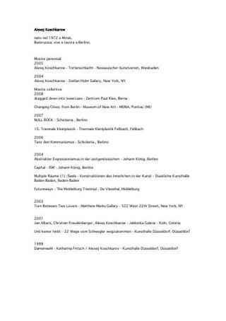 Curriculum espositivo (2009)