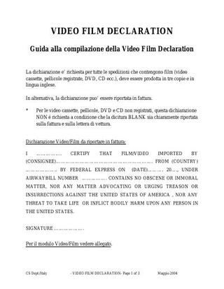 Video Film Declaration