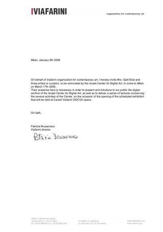 Lettera di invito per Galit Eilat