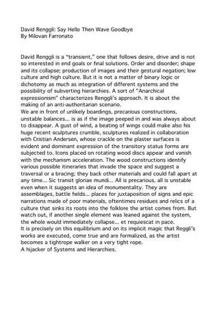 Testo critico di Milovan Farronato, 2007