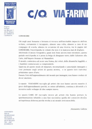 Comunicato stampa Conoscere, a cura di Alessandra Galletta