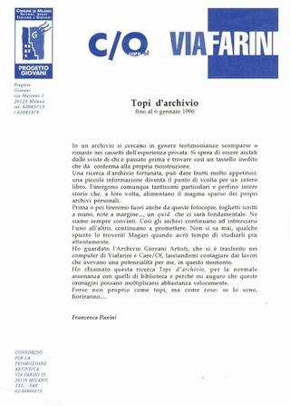 Comunicato Topi d'Archivio, a cura di Francesca Pasini