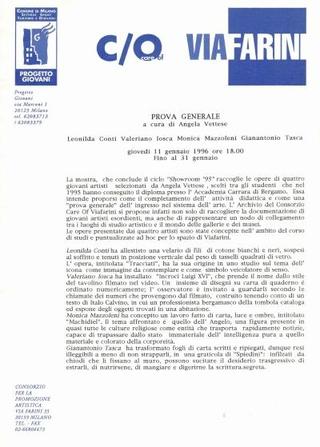 Comunicato stampa Prova Generale, a cura di Angela Vettese