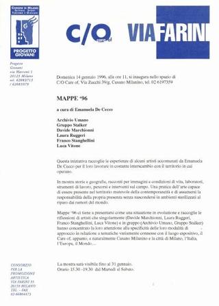 Comunicato Mappe '96, a cura di Emanuela De Cecco