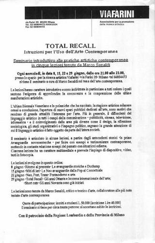 Total Recall, seminario di Marco Senaldi