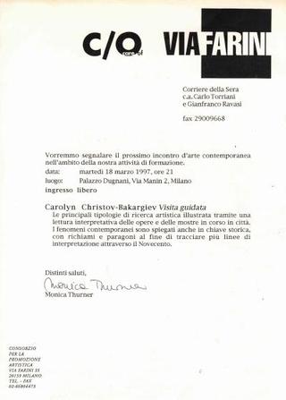 Carolyn Christov-Bakargiev l'anno successivo
