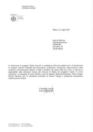 Lettera del Comune di Milano.