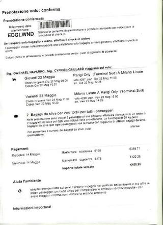 Biglietto aereo di Gwenael Navarro e Cyprien Gaillard