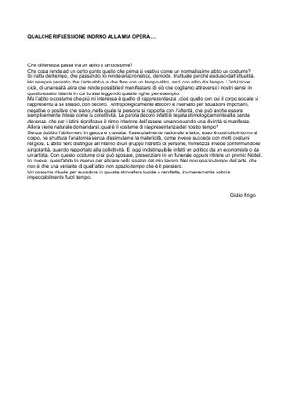 Statement di Giulio Frigo