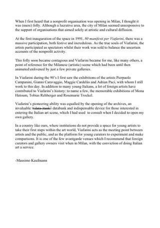 Testo di Massimo Kaufmann in inglese